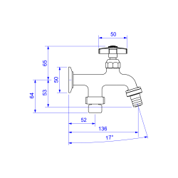 Torneira De Tanque Com Derivação Para Maquina 1155.c39 Deca